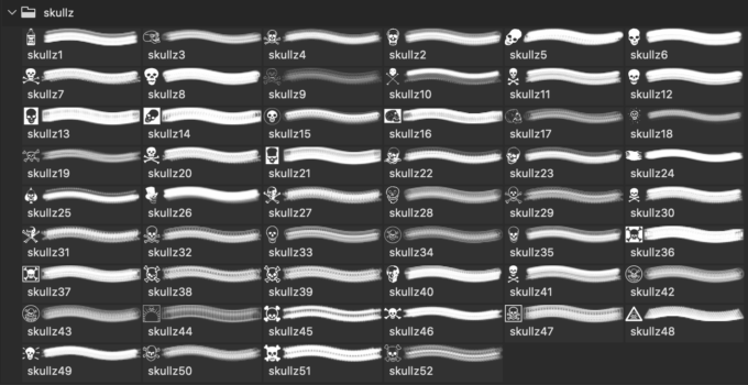 フォトショップ ブラシ Photoshop Skeleton Brush 無料 イラスト スカル 骸骨 ガイコツ スケルトン PS7-Skullz Dingbat brushes
