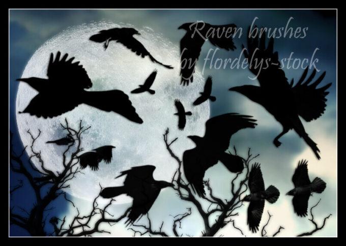 フォトショップ ブラシ Photoshop Raven Brush 無料 イラスト 鳥 バード カラス レイバン Raven Brushes