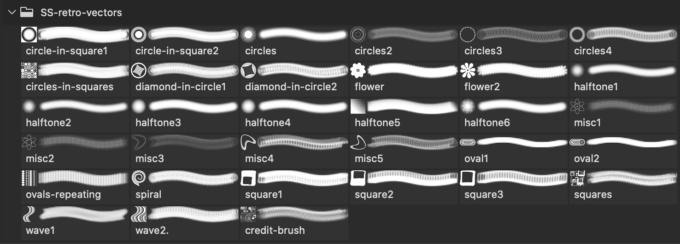 フォトショップ ブラシ Photoshop Vintage Retro Brush 無料 イラスト ビンテージ レトロ Retro Vectors Photoshop and GIMP Brushes