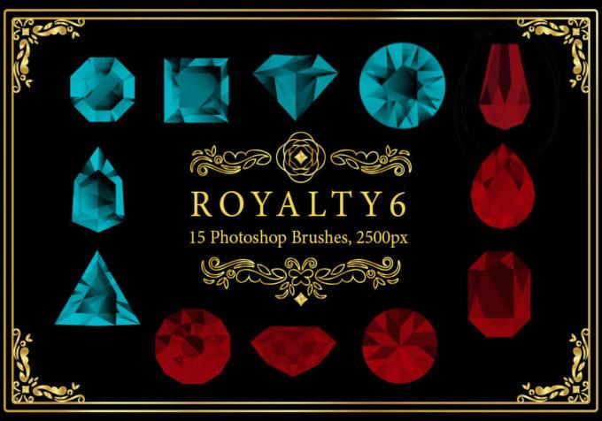 フォトショップ ブラシ Photoshop Jewelry Crystal Brush 無料 イラスト 宝石 ジュエル Royalty Photoshop Brushes 6