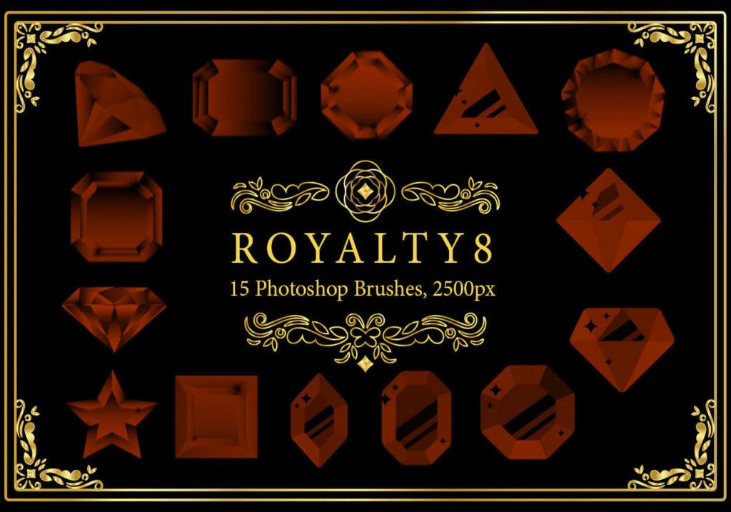 フォトショップ ブラシ Photoshop Jewelry Crystal Brush 無料 イラスト 宝石 ジュエル Royalty Photoshop Brushes 8
