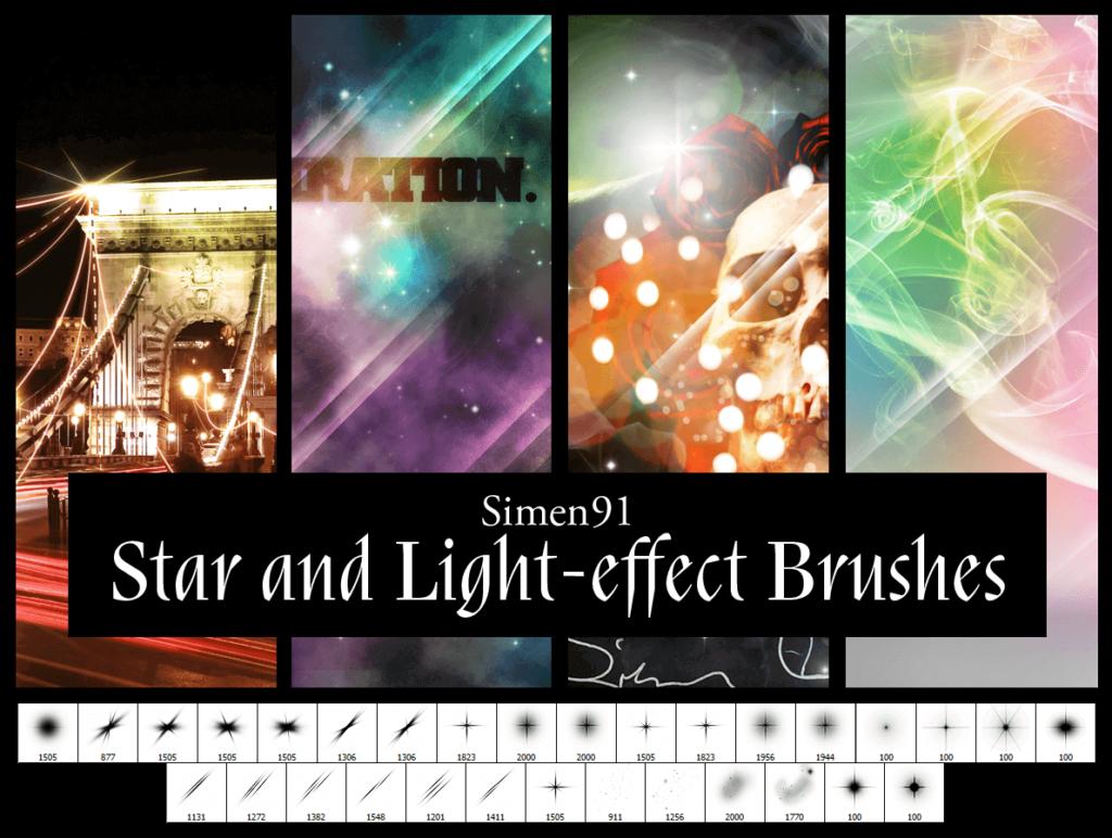 フォトショップ ブラシ Photoshop Brush 無料 イラスト 光 ビーム グリッター Simen 91'S Star And Light-Effect Brushes