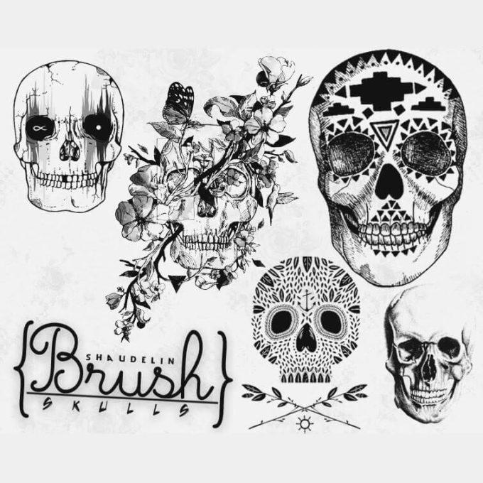 フォトショップ ブラシ Photoshop Skeleton Brush 無料 イラスト スカル 骸骨 ガイコツ スケルトン Skulls Brushes