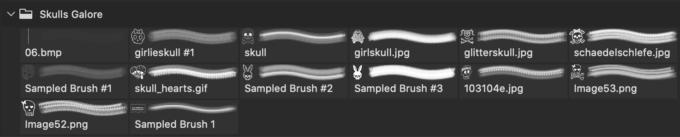 フォトショップ ブラシ Photoshop Skeleton Brush 無料 イラスト スカル 骸骨 ガイコツ スケルトン  Skulls Galore
