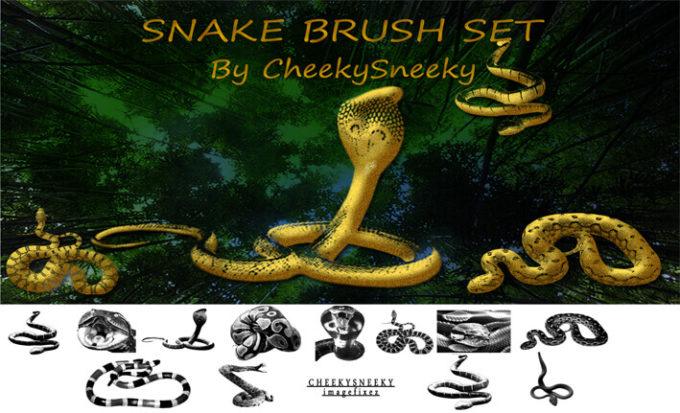 フォトショップ ブラシ Photoshop Snake Brush 無料 イラスト 蛇 ヘビ へび スネーク snakes brush set