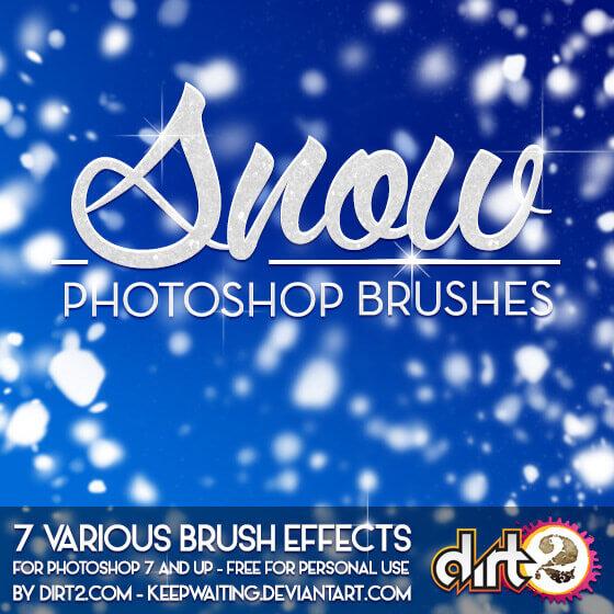 フォトショップ ブラシ Photoshop Snow Brush 無料 イラスト 雪 スノーSNOW PS7 Brushes and IMG Pack