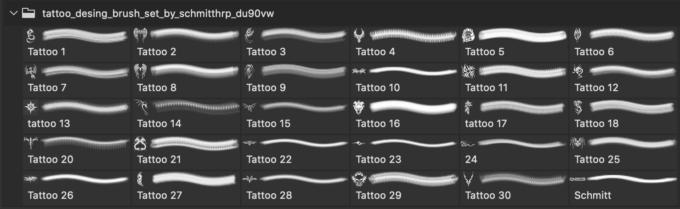フォトショップ ブラシ Photoshop Tattoo Brush Free abr 無料 イラスト タトゥー 模様 柄 刺青 ドラゴン Tattoo Desing Brush Set