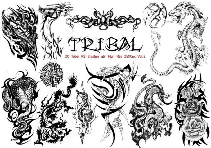 フォトショップ ブラシ Photoshop Dragon Brush Free abr 無料 イラスト ドラゴン 竜 龍 Tribal PS Brushes Vol.2
