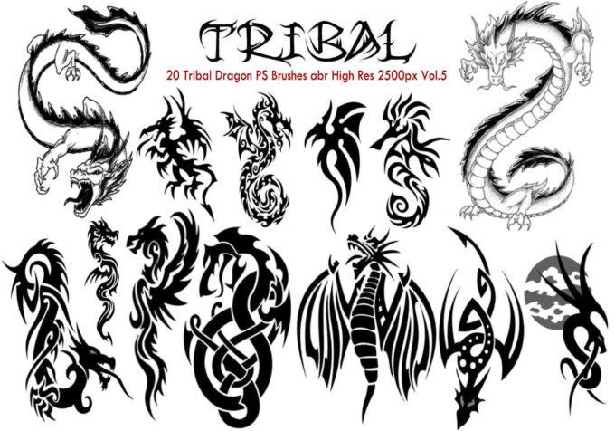 フォトショップ ブラシ Photoshop Dragon Brush Free abr 無料 イラスト ドラゴン 竜 龍 Tribal PS Brushes Vol.5