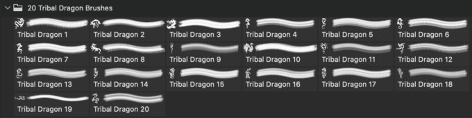 フォトショップ ブラシ Photoshop Dragon Brush Free abr 無料 イラスト ドラゴン 竜 龍 Tribal PS Brushes Vol.11