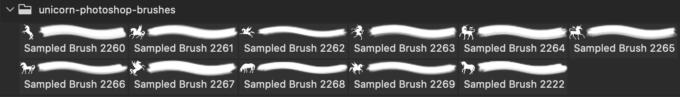 フォトショップ ブラシ Photoshop Unicorn Brush 無料 イラスト ユニコーン 11 Unicorn Brushes