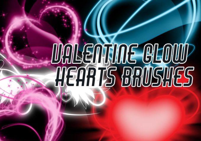 フォトショップ ブラシ 無料 ハート Photoshop Heart Brush Free abr Valentine Glow Hearts