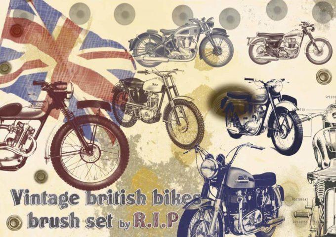 フォトショップ ブラシ Photoshop Bike Brush 無料 イラスト バイク vingtage brit bikes PSD brush