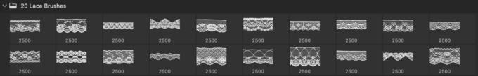 フォトショップ ブラシ Photoshop Lace Brush 無料 イラスト レース 20 Lace PS Brushes Abr