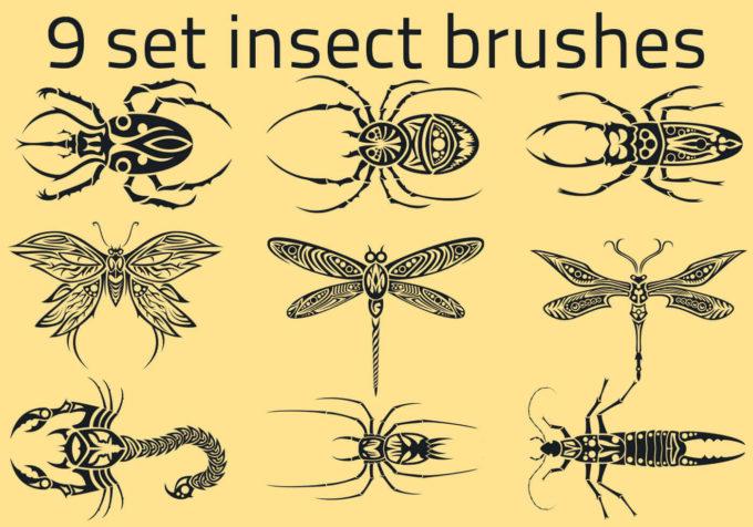 フォトショップ ブラシ Photoshop Bug Insect Brush 無料 イラスト 虫 ムシ 昆虫 9 Set Insect Brushes 999 Px