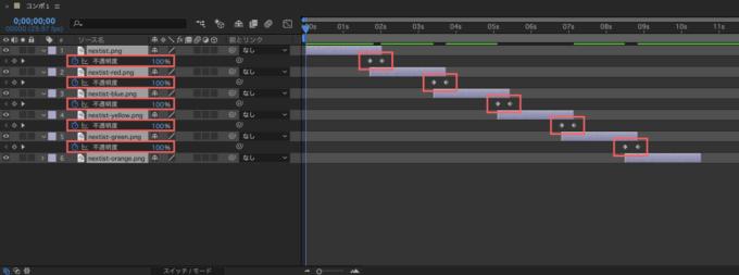 Adobe After Effects シーケンスレイヤー 前面レイヤーをディゾルブ