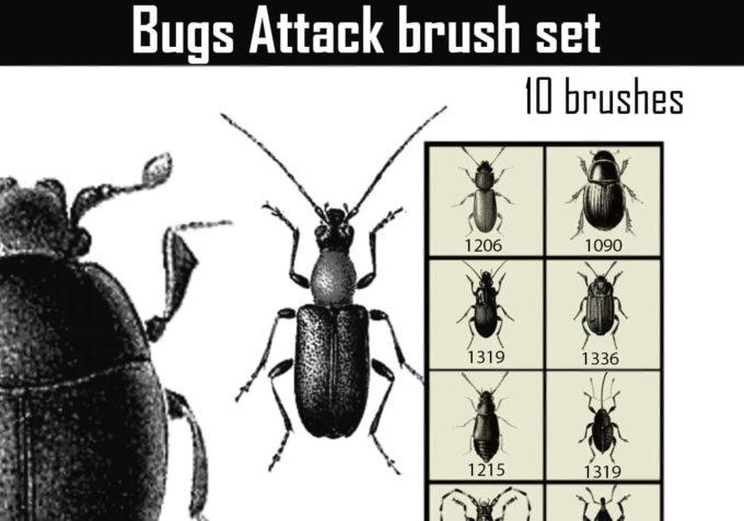 フォトショップ ブラシ Photoshop Bug Insect Brush 無料 イラスト 虫 ムシ 昆虫 Bugs Attack