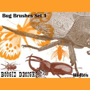 フォトショップ ブラシ Photoshop Bug Insect Brush 無料 イラスト 虫 ムシ 昆虫 Hi-Res Photoshop Brushes - Bug 1