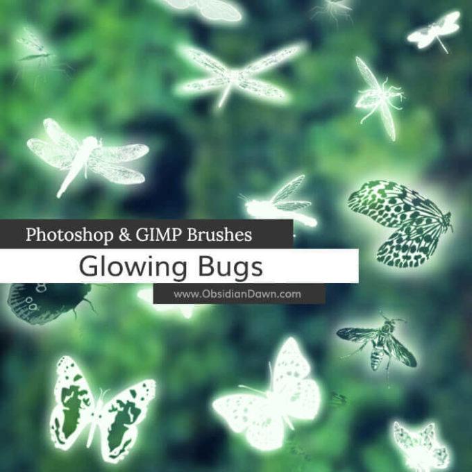 フォトショップ ブラシ Photoshop Bug Insect Brush 無料 イラスト 虫 ムシ 昆虫 Glowing Bugs Photoshop and GIMP Brushes