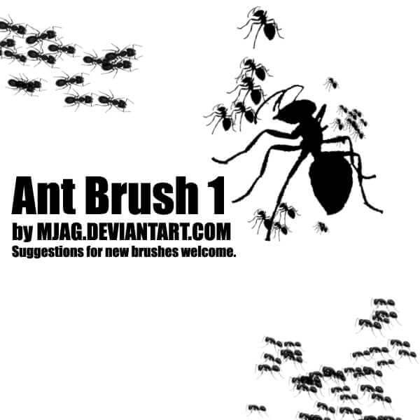 フォトショップ ブラシ Photoshop Bug Insect Brush 無料 イラスト 虫 ムシ 昆虫 アリ 蟻 Brushes: ANT 1