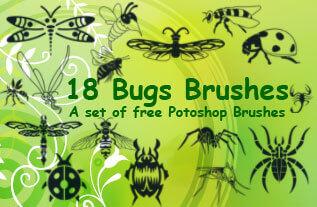 フォトショップ ブラシ Photoshop Bug Insect Brush 無料 イラスト 虫 ムシ 昆虫 18 Insect Clip Art Brushes