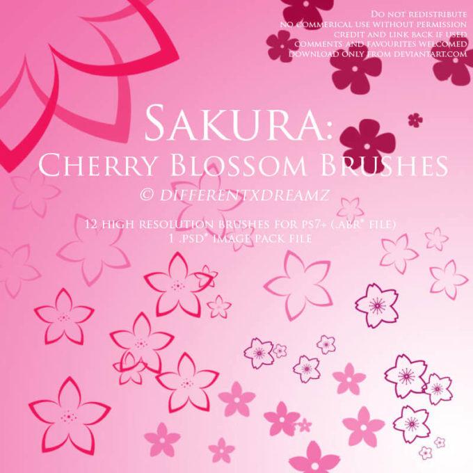 フォトショップ ブラシ Photoshop Cherry Blossoms Brush 無料 イラスト 桜 サクラ チェリーブロッサム Sakura: Cherry Blossom Brushes