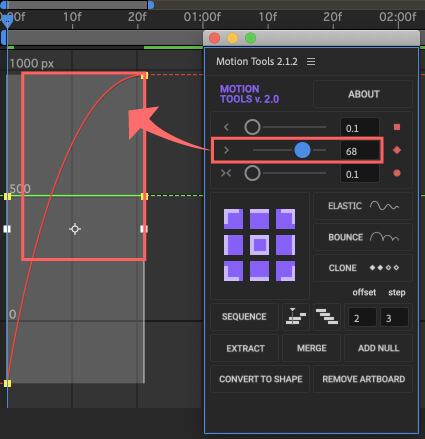 After Effects Motion Tools アニメーション イージングスライダー イージーイーズイン 調整