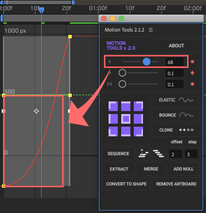 After Effects Motion Tools アニメーション イージングスライダー イージーイーズアウト 調整