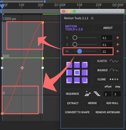 After Effects Motion Tools アニメーション イージングスライダー イージーイーズ 調整