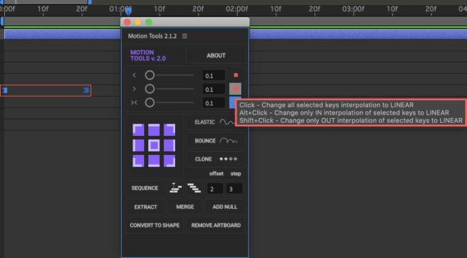 After Effects Motion Tools イージングスライダー 時間補間法 alt option shift