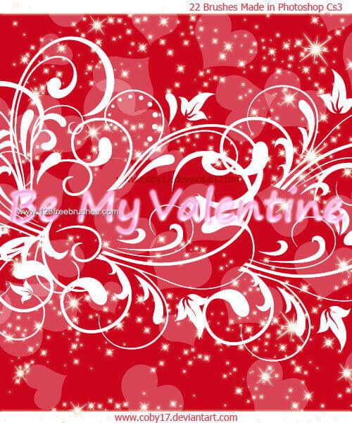 フォトショップ ブラシ Photoshop Cherry Blossoms Brush 無料 イラスト バレンタイン St. Valentine Swirls Glitters