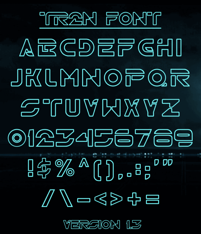 Free Font 無料 フリー 映画 フォント 追加  TRON トロン