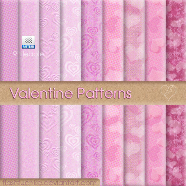 Photoshop Patterns Valentine フォトショップ パターン テクスチャー バレンタイン 9 tileable Valentine Patterns