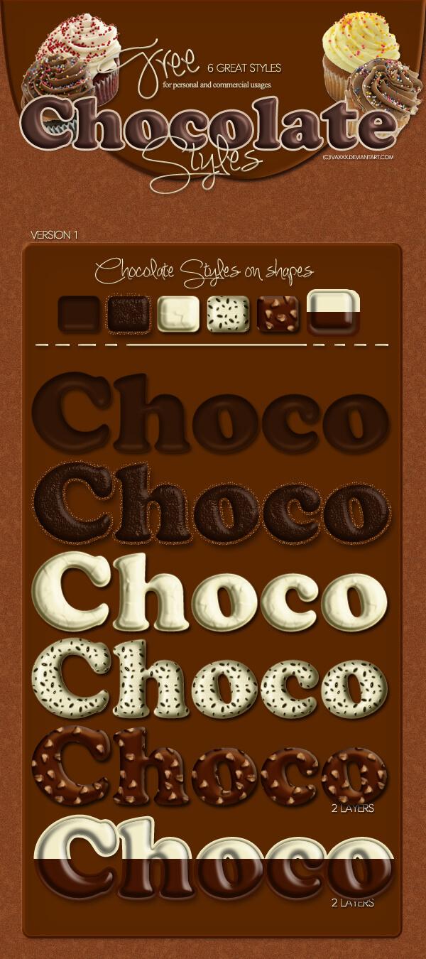 Photoshop Layer Style asl フォトショップ レイヤースタイル ハート バレンタイン チョコレート Chocolate Styles