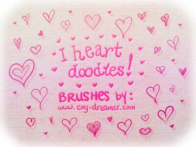 """フォトショップ ブラシ Photoshop Cherry Blossoms Brush 無料 イラスト バレンタイン """"I Heart Doodles!"""" Brushes"""