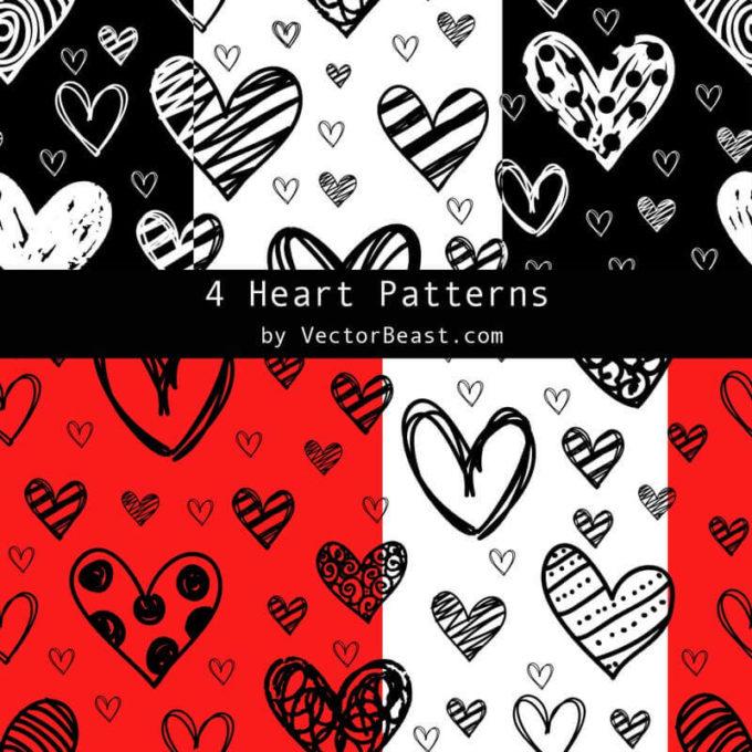 Photoshop Patterns Valentine フォトショップ パターン テクスチャー バレンタイン 4 Heart Patterns