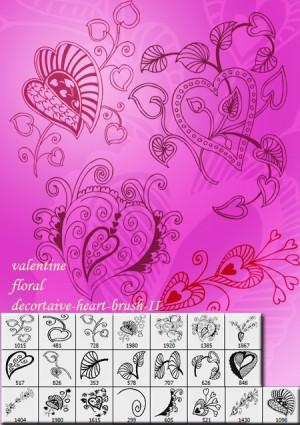 フォトショップ ブラシ Photoshop Cherry Blossoms Brush 無料 イラスト バレンタイン Valentine Floral  Heart Brushes