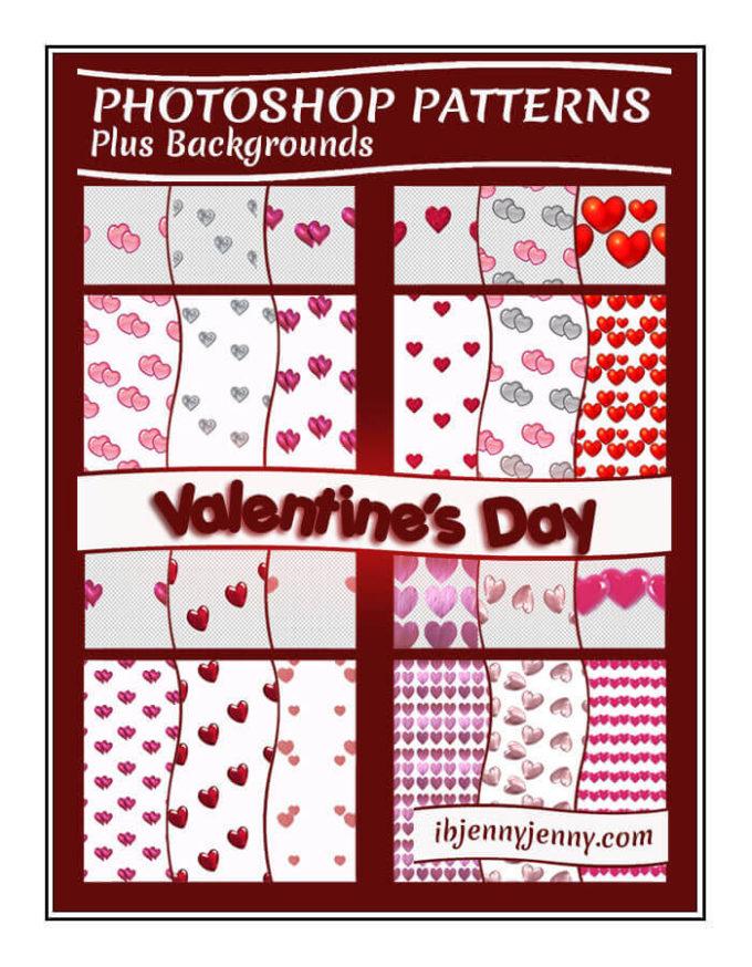 Photoshop Patterns Valentine フォトショップ パターン テクスチャー バレンタイン Photoshop Valentine's Day Patterns + Backgrounds