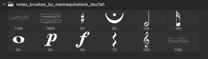 Adobe CC フォトショップ ブラシ Photoshop Music Note Brush 無料 イラスト 音楽 音符 楽譜 譜面 Notes Brushes