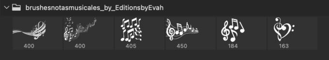 Adobe CC フォトショップ ブラシ Photoshop Music Note Brush 無料 イラスト 音楽 音符 楽譜 譜面 Musical Notes Pack