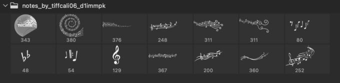 Adobe CC フォトショップ ブラシ Photoshop Music Note Brush 無料 イラスト 音楽 音符 楽譜 譜面 Notes