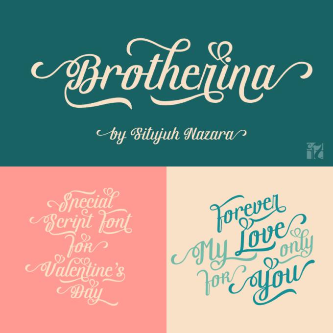 Free Font Design 無料 フリー フォント 追加 デザイン 筆記体 Brotherina Script Font