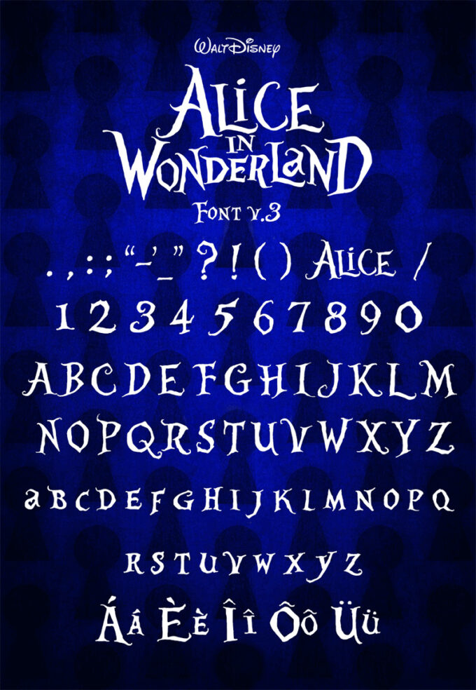 Free Font 無料 フリー おすすめ フォント 追加  ディズニー 不思議な国のアリス Alice in Wonderland