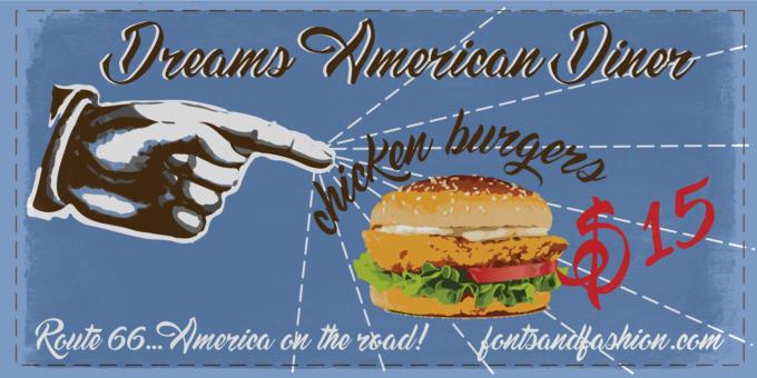 Free Font Design 無料 フリー フォント 追加 デザイン 筆記体 Dreams American Diner Font