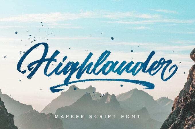 Free Font Design 無料 フリー フォント 追加 デザイン 筆記体 HIGHLANDER MARKER SCRIPT FONT