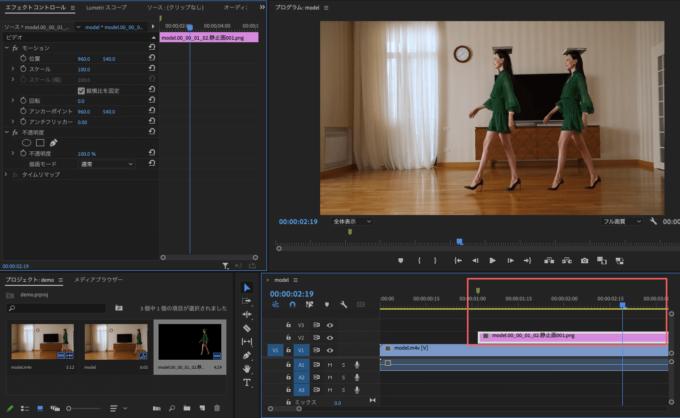 Adobe Premiere Pro フリーズフレーム エフェクト