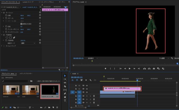 Adobe Premiere Pro フリーズフレーム エフェクト  Adobe Photoshopで編集 背景を削除