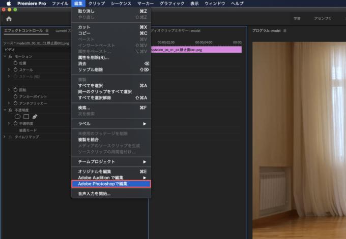Adobe Premiere Pro フリーズフレーム エフェクト  Adobe Photoshopで編集