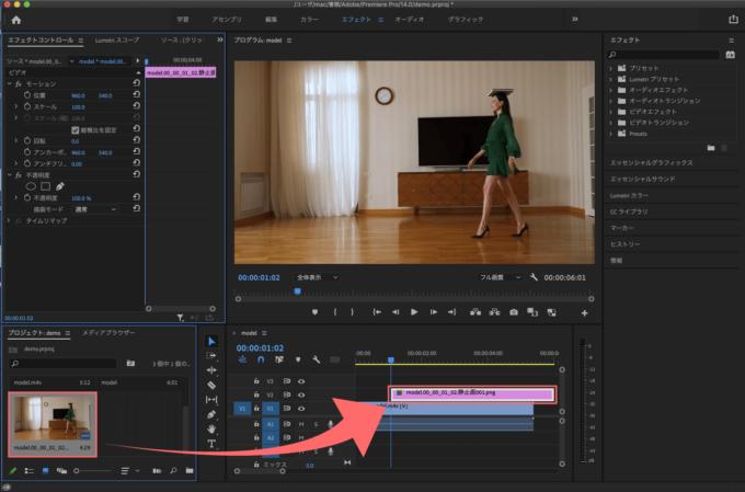 Adobe Premiere Pro フリーズフレーム エフェクト スナップショット インポート