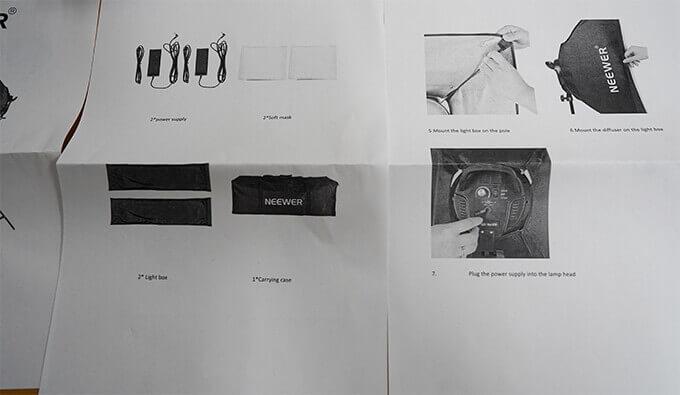 Neewer ニューワー ソフトボックス  LED ライト 照明キット 説明書